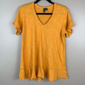 Anthropologie golden yellow short sleeve top